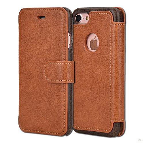 Mulbess Handyhülle für iPhone 8 Hülle Leder, Layered Dandy Leder Flip Tasche für iPhone 8 and iPhone 7 SchutzTasche Cover Etui, Braun