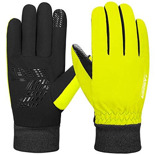 Anqier Warme Handschuhe Herren Damen rutschfest Winddicht Winter Handschuhe Uniesex Outdoor Sporthandschuhe mit Fleecefutter