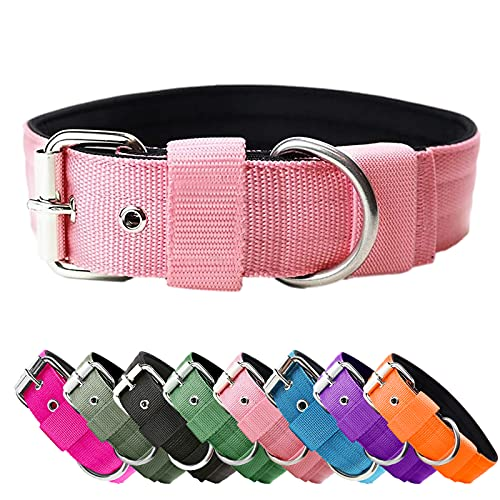 Heavy Duty Tactical Dog Collar - 1.5' Width Military Durable Thick Nylon with Adjustable Metal D Ring & Buckle Working Training K9 Collar for Medium Large Dogs (Pink, M(17'-20'))