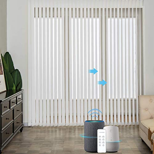 Graywind Motorized Half Shading Vertical Blinds Compatible with Alexa Google Privacy Reversible Smart Vertical Blind Remote Control Track Slats Set for Patio Sliding Doors No Valance, Textured White