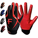 FINGER TEN Football Receiver Gloves Youth, Grip Gloves for Kids Small Large XL Medium, Black White Blue Red Orange Durable Breathable Flexible (Red, Small)