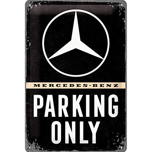 Nostalgic-Art Retro Blechschild, Mercedes-Benz – Parking Only – Geschenk-Idee für Auto Accessoires Fans, aus Metall, Vintage-Dekoration, 20 x 30 cm