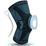 Aisrida Knee Braces, Compression Knee Sleeve for Men Women with Side Stabilizers + Silicone Patella Gel Pad for Sports, Fitness, Jogging, Basketball, Jogging, Running, Knee Pain Protector