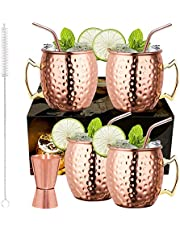 LIVEHITOP Moscow Mule Koperen Mok Set van 4 PCS, 18 Oz Koperen Beker met 4 Onderzetters, 4 Rietjes, Jigger & Rietjesborstel, Zijn & Haren Cadeau voor thuis, Bar, Partij