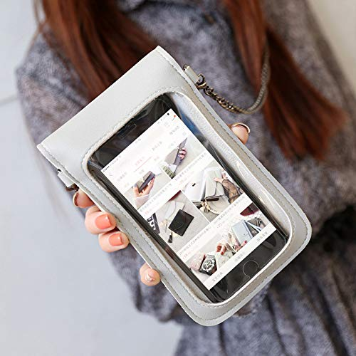 Gxing Cadena Teléfono Bolsa Transparente Transparente Ventana Toca Pantalla Crossbody Teléfono Móvil Bolsa