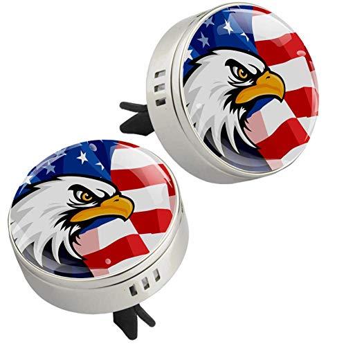 Z&Q Auto Diffuser Luftbefeuchter für Adler amerikanische Flagge Auto Lufterfrischer zum Nachfüllen Kommt mit 4 PE zusätzlichen Pads öl Diffusor 33.8mmX46.4mm