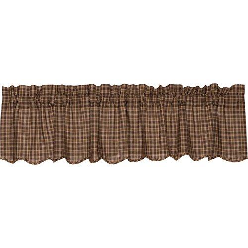 VHC Brands Prescott Scalloped Valance 16x72 Country Curtain, Dark Brown