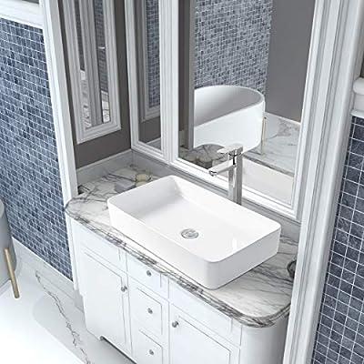 "24"" x 14"" White Rectangular Ceramic Countertop Bathroom Vanity Vessel Sink"