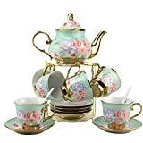 20 Pieces Porcelain Tea Set With Metal Holder, European Ceramic Coffee Set,Turkish Tea Set,Tea Set For Women With Flower Painting,27OZ/Pot,6.8OZ/Cup (Green)