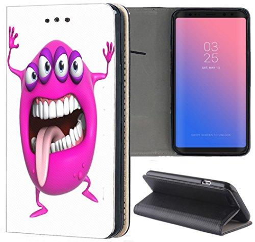 Handyhülle für Samsung Galaxy A3 2016 Premium Smart Einseitig Flipcover Flip Case Hülle Samsung A3 2016 Motiv (1262 Monster Cartoon Lila Pink)