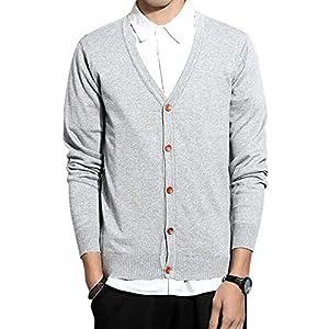 COOFANDY カーディガン メンズ ビジネス ニット セーター 長袖 カジュアル 無地 Vネック 綿 スリム 薄手 羽織 ボタン付き 大きいサイズ 春