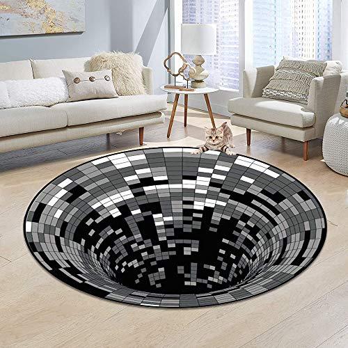 TaimeiMao Runder Teppich, 3D-Wirbel-Druck Optischer Täuschungsteppich Teppich (100 x 100 cm)