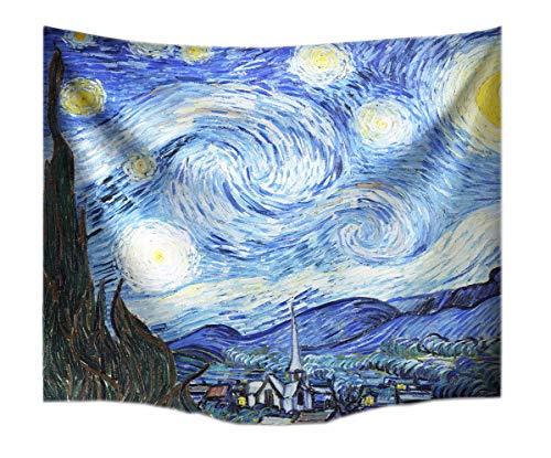 A.Monamour Stoff Sternenhimmel Nachtdruck Vincent Van Gogh Tapisserie Wand Hängen Für Schlafzimmer Wanddekorationen Wanddekor Wohnaccessoires Deko Wandteppiche 153x102cm