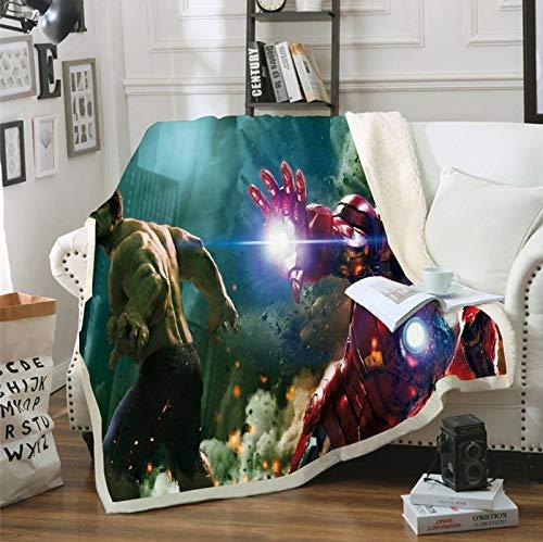 POMJK Manta de forro polar para niños, con Thor, Iron Man y Capitán América, 100% microfibra, manta infantil, manta para sofá, para picnics o camping (12,150 × 200 cm)