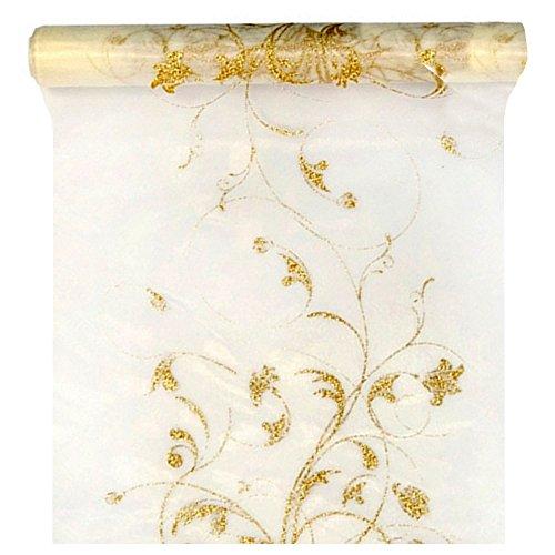 Bedruckte Organza mit goldigem Muster, Rolle à 9m