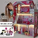 Puppenhaus aus Holz mit LED licht - 3 Spielebenen, mit Möbeln und Zubehör, für 27 cm große...