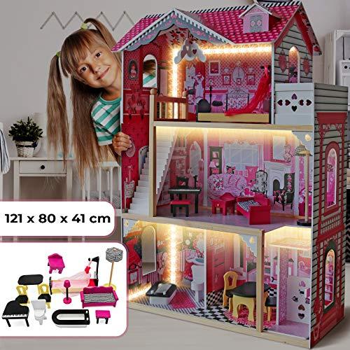 Puppenhaus aus Holz mit LED licht - 3 Spielebenen, mit Möbeln und Zubehör, für 27 cm große Puppen - Puppenvilla, Dollhouse Kinder Spielzeug für Kinderzimmer und Schlafzimmer, für Mädchen und Jungen