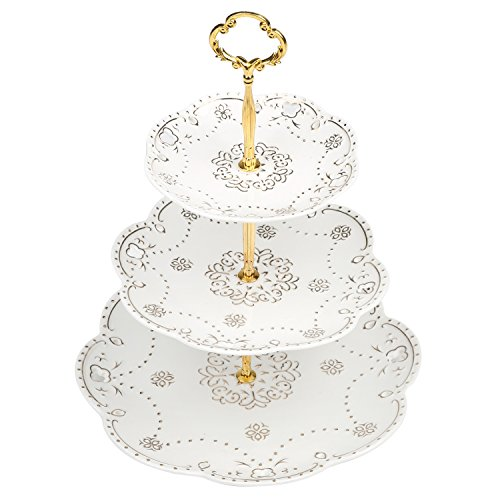 3 Tier Vintage White Ceramic Dessert Cupcake Stand with Gold-Tone Plated Floral Design and Handle
