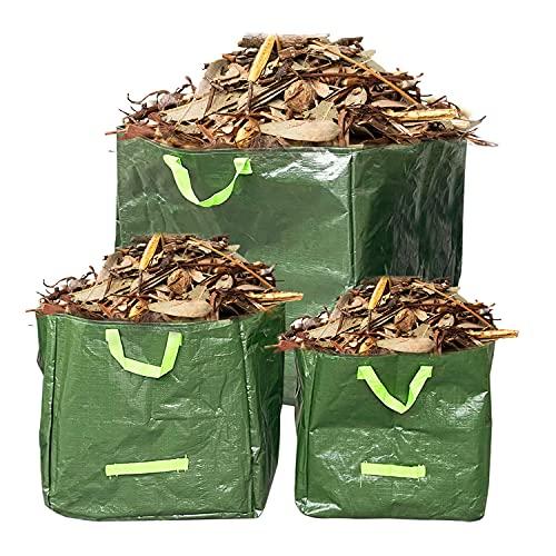 GreenBuy 3pcs sac à déchets de jardin 20/27/45 gallons, tissu PE épais et résistant de haute qualité, étanche à l'eau, 4 poignées réutilisables, bon pour le collecteur de déchets dans le jardin