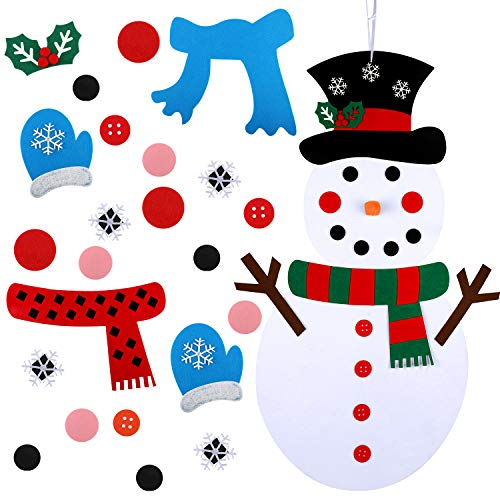 Boao Christmas DIY Felt Snowman with 37 Pieces Detachable Ornaments Christmas Wall Hanging Games Set for Christmas Decorations, 20 x 39 Inch