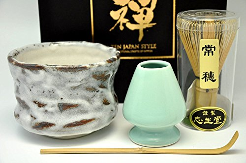 Japanese Mino Yaki ware Matcha Bowl And Tea Ceremony Set Green Tea 11 / 11 / 8cm (4.3 / 4.3 / 3.1inch)[7361]