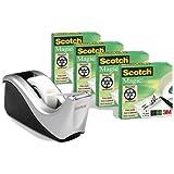 Scotch Dispensador rellenable plateado para Cinta Adhesiva - Incluye 4 rollos de 19mm x 33m - Para la Escuela, el Hogar y la Oficina
