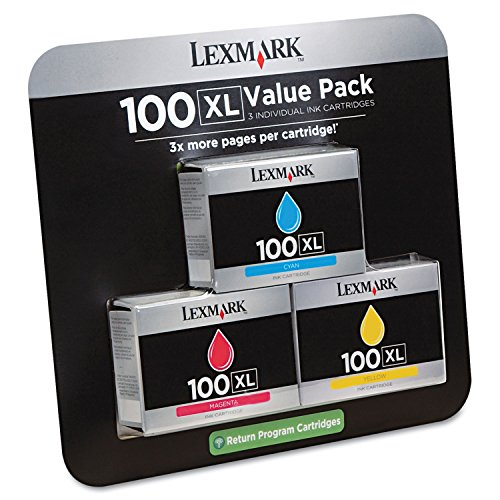 Lexmark LEX14N1188 100XL Ink Cartridge, Cyan, Magenta, Yellow High Yield 600 Page 1 / Each