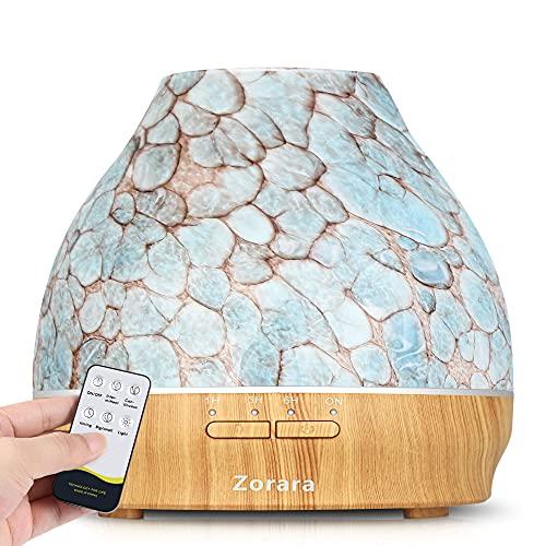 Diffusore di oli essenziali da 550 ml, in vetro 3D, umidificatore a nebbia fredda, con telecomando, timer, luci LED a...