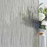 VELIMAX Privacy Window Film Opaque Static Cling Window Covering for Bathroom Decorative Glass Film Non Adhesive (Grey Black, 35.4in x 78.7in)