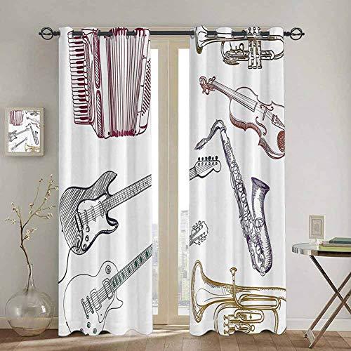 Homrkey Türvorhang mit Musik-Dekor, für Schlafzimmer, Musikinstrumente wie Cello, Gitarre, Akkordeon, Trompete, Violine, Saxophon, 254 x 213 cm, mehrfarbig