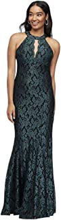 Contrast Lace High-Neck Halter Mermaid Gown Style 21689