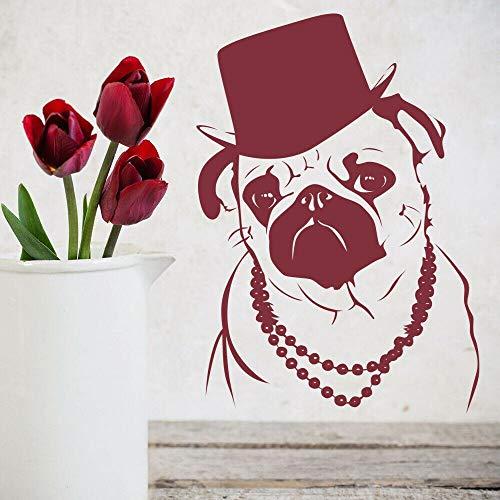 Divertido Pug calcomanía de pared sombrero de copa estilo fresco collar vinilo ventana pegatina tienda de mascotas Animal decoración interior Mural
