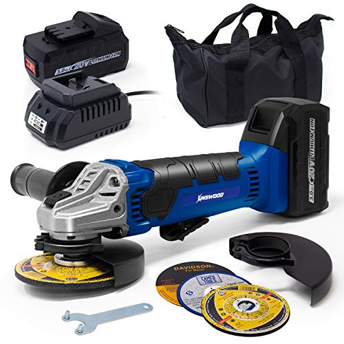 """Kinswood 20V Lithium-Ion Brushless Cordless 4-1/2"""" / 5"""" Cut-Off/Angle Grinder 2 Batteries including"""