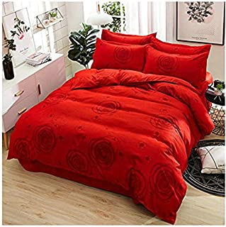 KFZ Hydro Cotton Bed Set Twin Full Queen King Set Duvet Cover Flat Sheet Pillowcase No Comforter HDD Big Fish Totoro Cat Monkey Rabbit Design Sheet Sets (Rose Love, Red, Twin 59