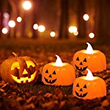 12 Pcs Kürbis Teelichter Kerzen,3D Halloween Kürbis Lichter,Kürbis Kerzen Flammenlose,Halloween Teelicht Deko Pumpkin,LED Flammenlose Kerzen für Halloween Deko,Hochzeit Party, Weihnachten(Smiley) - 5