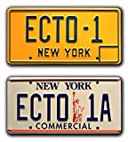 Celebrity Machines Ghostbusters 1 & 2 | ECTO-1 + ECTO-1A | Metal Stamped Vanity Prop License Plate Combo
