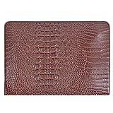 Felice Ann Women Large Crocodile Pattern Faux Leather Envelope Handbag Evening Clutch Purse Portfolio Coffee