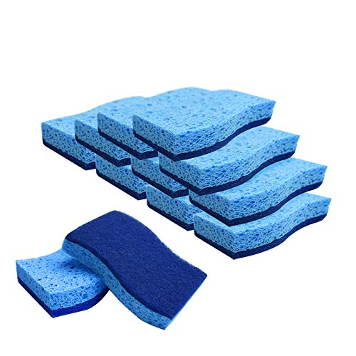 TRIXESCleaning Sponge -Pack of 12 - Double Sided Sponge Layer & Scrubbing Pad - Ergonomic Shape - Streak Free - Professional Cleaning Aid - Washing Up - Remove Marks - Kitchen Tools