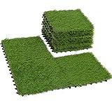 Deseados Artificial Grass Interlocking Tiles Fake Grass Floor Tile Synthetic Grass Flooring Tile Mats 12' X 12' (9 PCS)