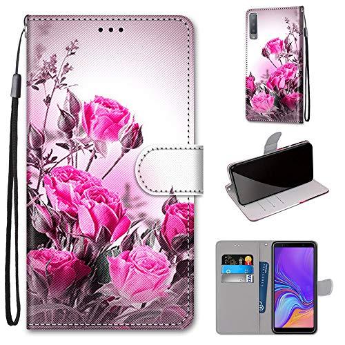 Miagon Custodia Cover Case per Samsung Galaxy A7 2018,Colorato Modello Pelle Portafoglio Libro Cuoio Flip Cover con Porta Carte Magnetica Supporto,Selvaggio Rose