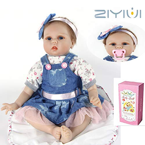 ZIYIUI 22 Pulgadas 55cm Reborn Baby dollbebe Realista Vinilo de Silicona Suave...