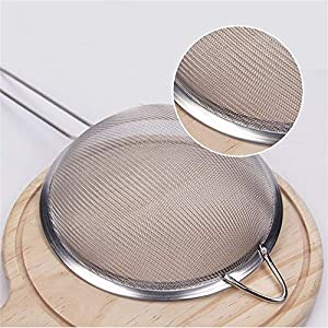 Stainless Steel Fine Mesh Strainer Colander Sieve Sifters with Sturdy Silicone Handle, Free Bonus Silicone Foldable… |
