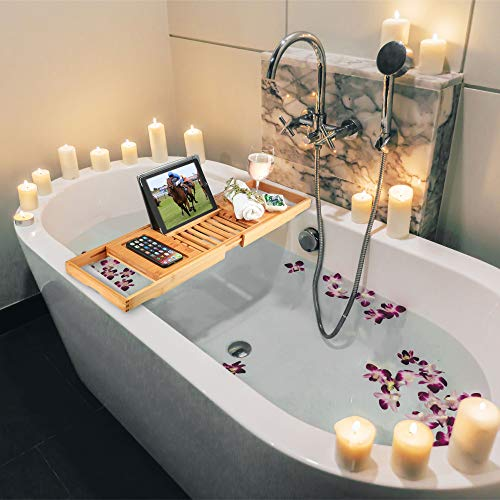 Bambüsi Premium Bamboo Bathtub Tray Caddy - Wood Bath Tray Expandable with Book, Wine Holder - Ideal Gift for Loved Ones