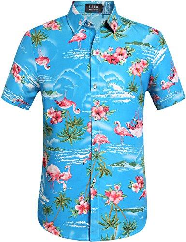SSLR Herren Hemd Hawaiihemd Flamingos 3D Gedruckt Kurzarm Freizeit Hemd Button Down Aloha Shirt für Strand Reise (Large, Blue)