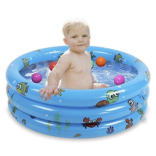 JYCRA aufblasbares Planschbecken für Babys, langlebig, zusammenklappbar, Bällebad für Kinder, PVC, blau, 80 cm