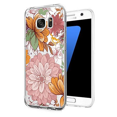 Compatible con Samsung Galaxy S6, carcasa transparente de silicona TPU, diseño de flores, ligera, antideslizante, a prueba de golpes 5 M