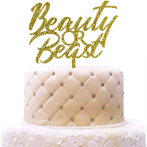 Beauty or Beast Acrylic Cake Topper, Boys or Girls Cake Topper, Gender Reveal Party Decorations, Baby Shower Party, Gold Glitter