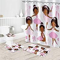 アフリカの女性 シャワー カーテン 4 点セット 柔らかい 滑り止め バスルームマット バスルームシャワーカーテンセット 防水 印刷 ス ットパッド U字型コンターマット 便座カバー にとって キッズ 女の子 等B