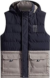 Iuhan Men Sleeveless Coat Plus Size Splice Down Cotton Hooded Clothing Vest Outerwear Hat Detachable Zipper Patchwork Blouse