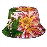 Yearinspace Sombrero unisex para el sol, diseño de pavo real, ala ancha, protección solar al aire libre, gorras de pescador, Dahlia Bud Petals Macro